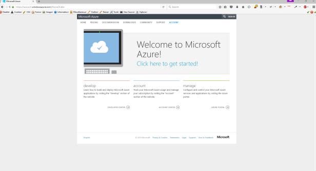 Microsoft Azure Account Center Front Screen